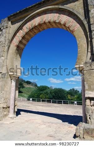 Moorish arch, Medina Azahara (Madinat al-Zahra), Near Cordoba, Cordoba Province, Andalucia, Spain, Western Europe. - stock photo