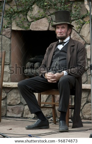 """MOORPARK, CA - NOV 13: """"Abraham Lincoln"""" at """"The Blue & The Gray"""" event on Nov 13, 2011 in Moorpark, CA. Its the largest Civil War reenactment in the West. - stock photo"""