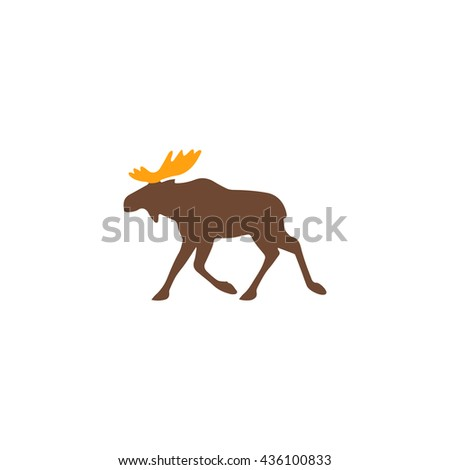 Moose. Color simple flat icon on white background - stock photo