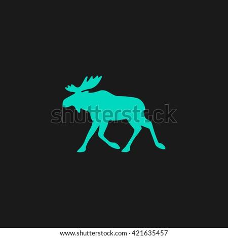 Moose Flat icon on black background. Simple symbol - stock photo