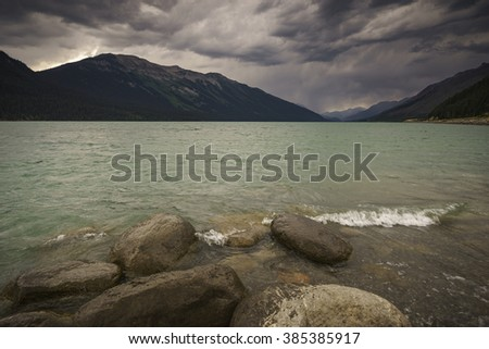 Moose Lake, Mount Robson Provincial Park, North Thompson, British Columbia, Canada - stock photo