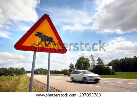 Moose Sign in Sweden - stock photo