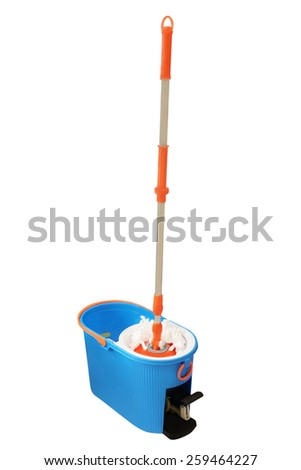 Mop and bucket isolated on a white - stock photo
