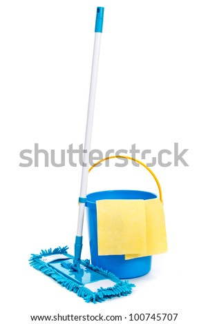 Mop and bucket. Isolated on white background - stock photo