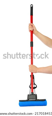 Mop in hands isolated on white background - stock photo