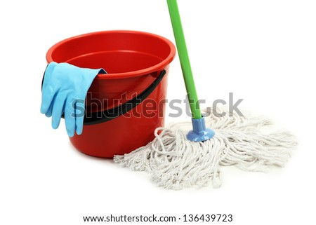 Mop, plastic bucket and rubber gloves, isolated on white - stock photo