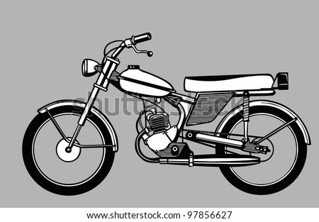 moped silhouette on gray background - stock photo