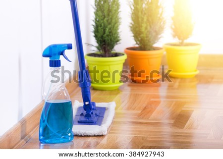 Mopping stick with spray bottle and rubber gloves standing on parquet beside white wall. Three plants in background - stock photo