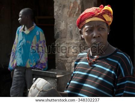 Mopti, Mali-Aug.27,2011: Women in a village, Mali - stock photo