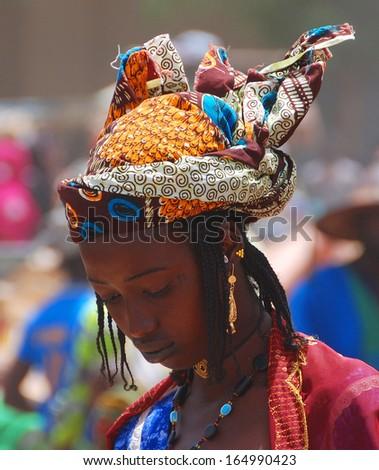 MOPTI, MALI - MARCH 23: Portrait of unidentified Fula woman on March 23, 2009 in Mopti, Mali. - stock photo