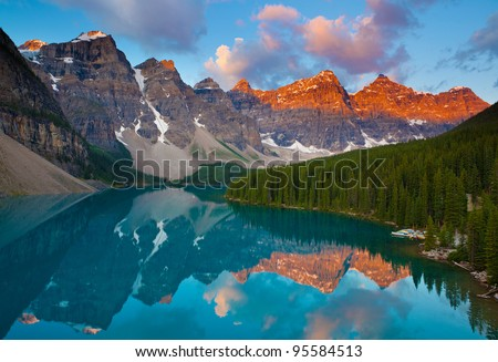 Moraine Lake at Sunrise - stock photo