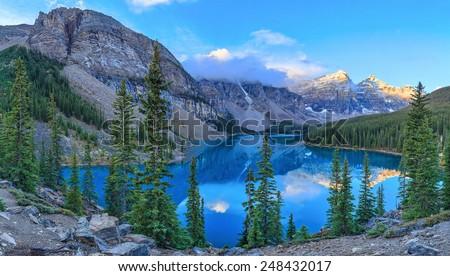Moraine Lake, Banff National Park, Alberta, Canada - stock photo
