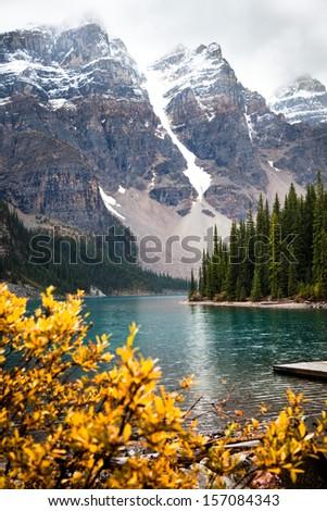 Moraine Lake. Banff National park. Alberta. Canada, Oct. 2011 - stock photo