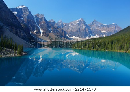 Moraine Lake in the Canadian Rockies - stock photo