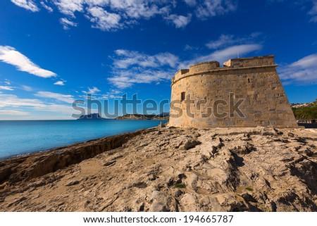 Moraira Castle in teulada beach at Mediterranean Alicante of Spain - stock photo