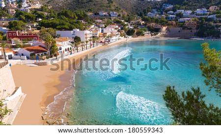 Moraira playa el Portet beach high angle view in Mediterranean Alicante of Spain - stock photo