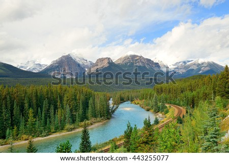 Morant Curve with river and railway in Banff National Park in Canada - stock photo
