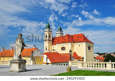 Moravia, Church in Valtice, Czech - stock photo