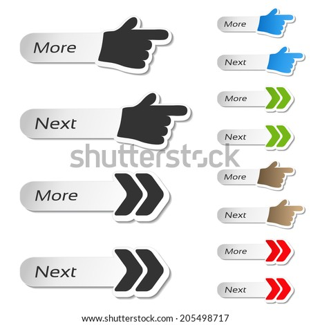more, next buttons - black and color hands and arrows icons - stock photo