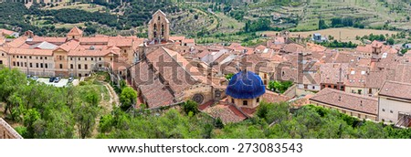 Morella Aerial View from Top of the Castle - stock photo