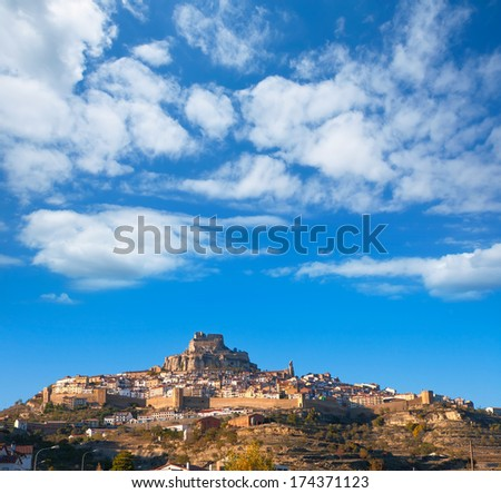 Morella village is Maestrazgo Castellon with castle in Spain - stock photo