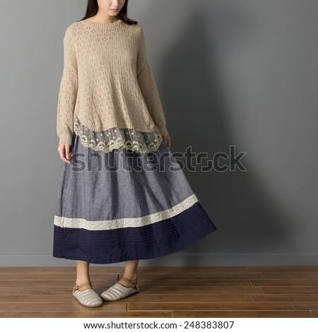 Mori Girl Asian woman model artist style relax home fashion - stock photo