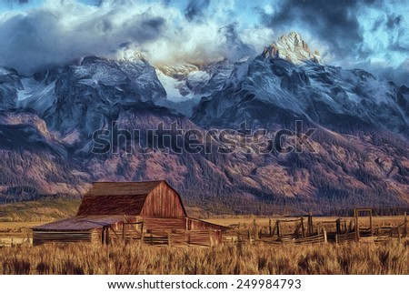 Mormon Barn with Tetons in the Background - stock photo
