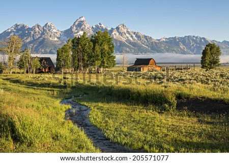 Morning at Moulton Barn in the Grand Teton National Park, Wyoming - stock photo