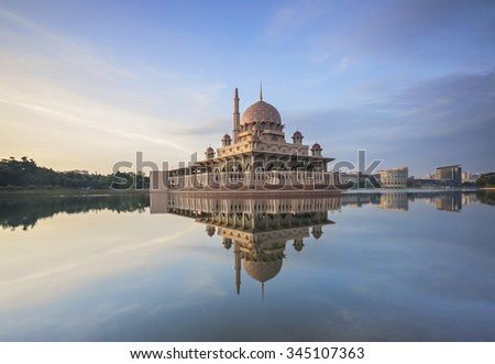 Morning at Putra Mosque in Putrajaya, Kuala Lumpur, Malaysia - stock photo