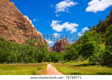 morning at the Zion Canyon National Park, Utah - stock photo