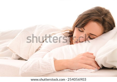 Morning beautiful sensual girl in a bright bedroom - stock photo