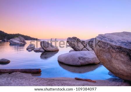 Morning Bonsai rock at Lake Tahoe - stock photo
