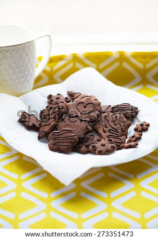 morning breakfast - Cup of hot drink and chocolate cookies and pastry - stock photo