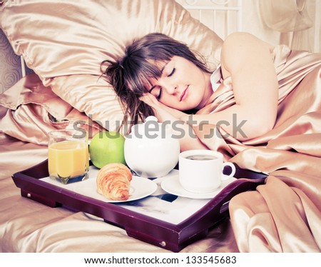 Morning breakfast in the bed - stock photo