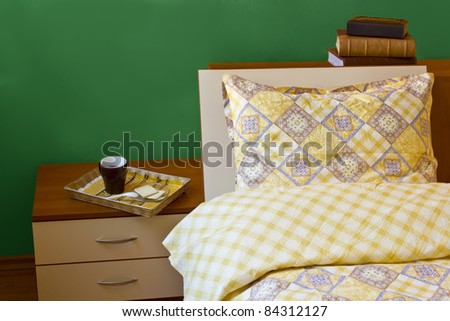 morning coffee in bed - stock photo