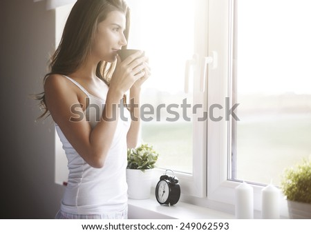 Morning coffee is my daily routine   - stock photo