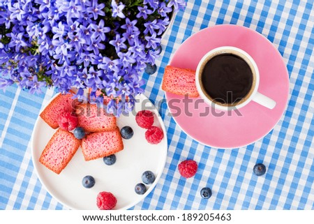 Morning coffee with sweet biscuits - stock photo