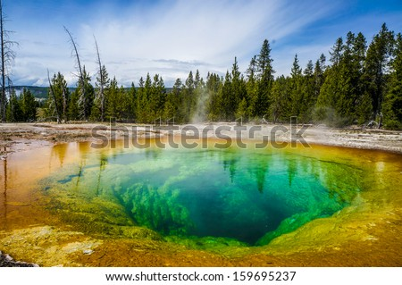 Morning Glory Pool in Yellowstone National Park of Wyoming - stock photo