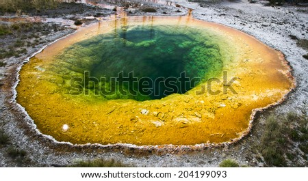 Morning glory pool, Yellowstone National Park, USA - stock photo