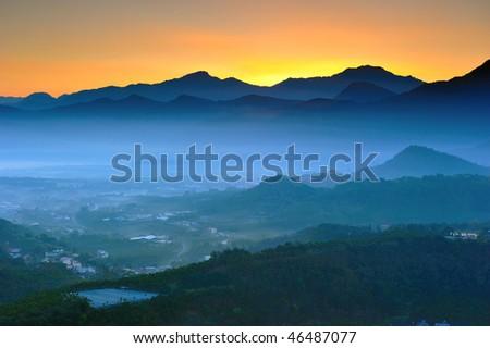 morning has broken in mountains - stock photo