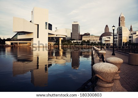 Morning in Cleveland - downtown view from the lake front - stock photo