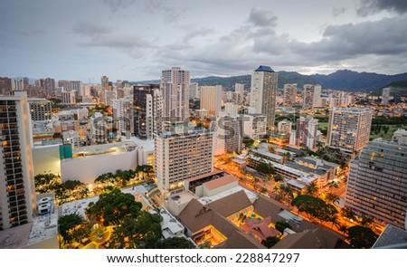 Morning in Honolulu Hawaii - stock photo