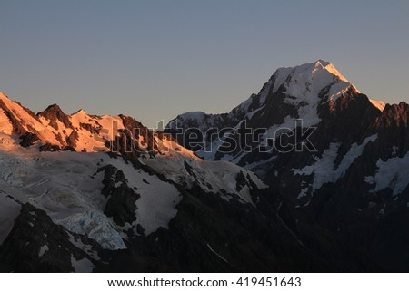 Morning in the Southern Alps. Mount Cook at sunrise. View from the Sealy Tarns Track. - stock photo