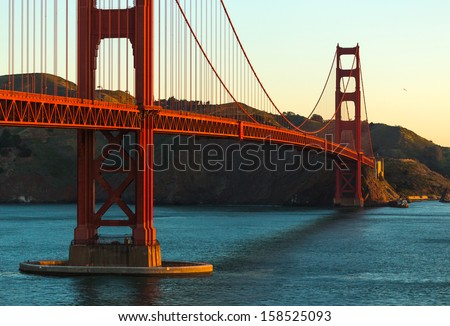 Morning just below the Golden Gate Bridge in San Francisco, California, USA.  - stock photo