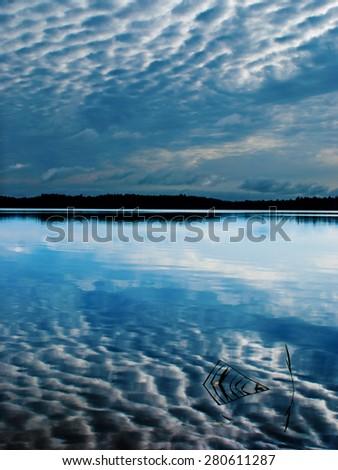 Morning lake landscape - stock photo