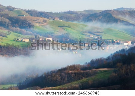 Morning landscape in the Apennines mountains, Italy - stock photo