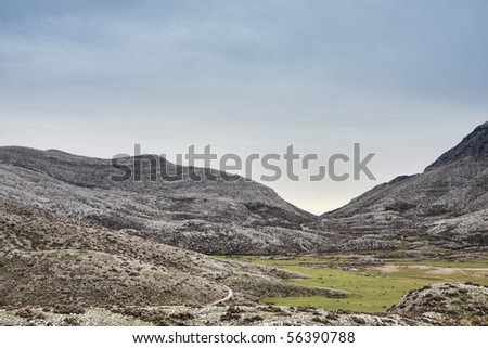 Morning landscape in the Nida Plateau in Crete, Greece. - stock photo