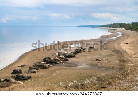 Morning landscape on a beach of Baltic sea - stock photo