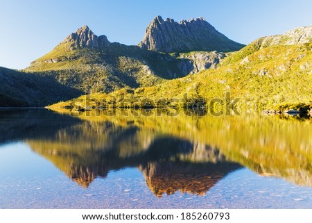 Morning Light, Cradle Mountain in Lake St Clair National Park, Tasmania, Australia - stock photo
