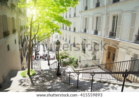 morning Montmartre staircase in Paris, France - stock photo